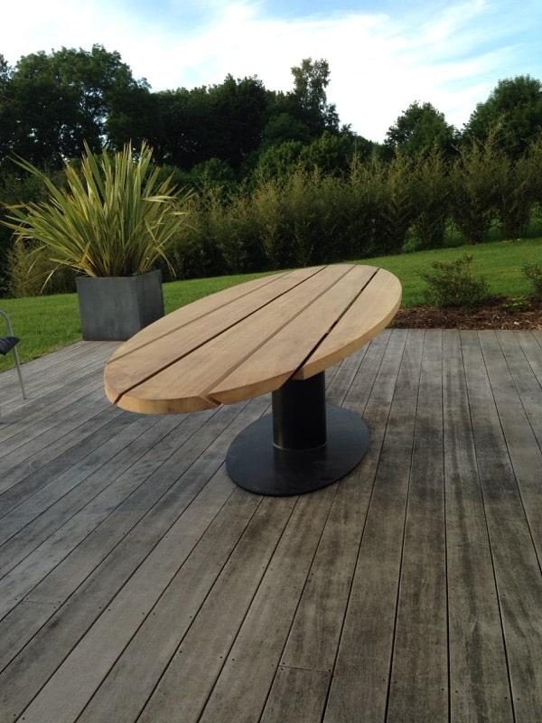 table exterieur metal bois design normandie